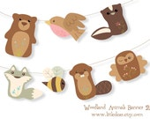 Printable Woodland Animals Banner Set 2 PDF digital download Scrapbook clipart Baby Shower Party Decorations