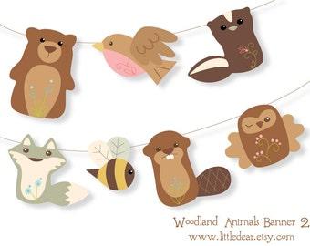 Printable Woodland Animals Banner Set 2 PDF digital download Scrapbook clipart Baby Shower Party Decorations
