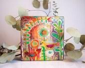 birds, blooms, mixed media, home décor, joyful, spring, flower, wood block, free standing, art