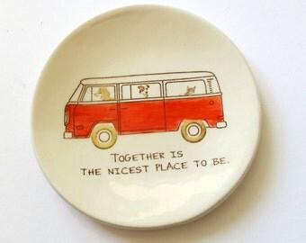 Better Together.  Ring Dish . Ring Holder . VW Van . Dog Driving . Orange VW Bus . Gift for Dad . Family