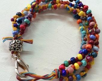 Hand Beaded Bracelet with Pewter Button  Closure Seed Beads
