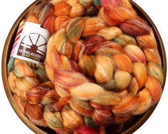 Darling Clementine - hand-dyed Merino wool / bamboo / silk (4 oz.) combed top roving