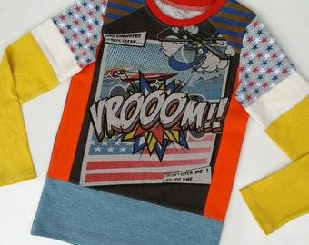 Size 7 (51 1/2 inch) Upcycled Boys long sleeve tee shirt vroom!