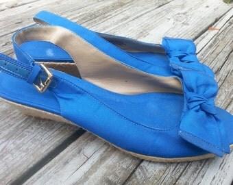 Vintage Bandolino Blue Slingback Bow Espadrilles Size 8 M