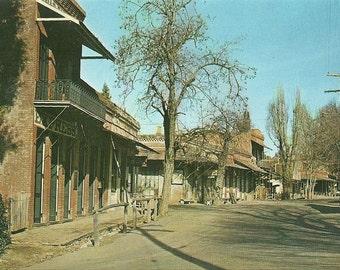 Vintage 1950s Postcard Columbia California Main Street State Park Ghost Town Photochrome Era Postally Unused