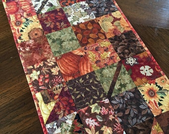 Autumn Quilt Table Runner, Fall Charmer Patchwork Handmade for your home decor, scrappy patchwork, charm squares, Fall fabric, home decor