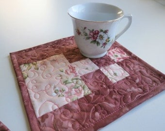 Pink Rose Quilted Mug Rug, Large Coaster, Romantic Floral Snack Mat