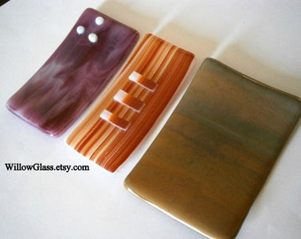Clearance Sale Fused Glass Soap Dishes in your choice by Willow Glass, Glass Soap Dish, Home Decor, Kitchen, Bathroom