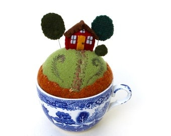 Teacup Pincushion House on a hill Tiny World No Saucer Blue Willow