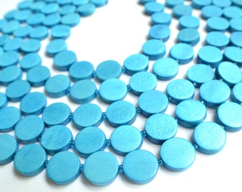 The Charlotte- Turquoise Blue Wood Statement Necklace