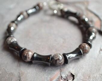 The Ryker- Hematite and Jasper Men's Bracelet