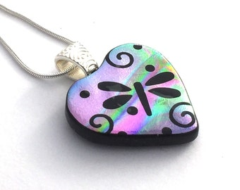 Fused Glass Pendant, Dichroic Glass, Pendant, Dragonfly Swirl Pendant, Etched Glass