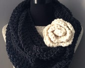 Black Infinity Scarf Cowl Jet Neck Warmer Charcoal Flower Statement Brooch with Felted Pin Back