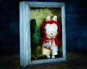 Little Red Bunny Hood, an original mixed media art doll assemblage by Danita Art