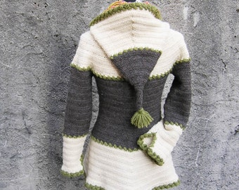 Léontine  - Crochet pattern for ladies hooded jacket size XS to XL - English, dutch and french versions