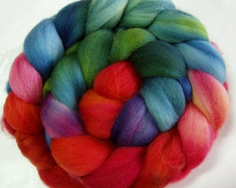 Superwash merino wool roving, spinning fiber, hand painted wool roving, sock yarn fiber, 100g/3.5oz