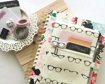 Cat's Eye Glasses Pocket Planner Pouch, Zipper Pouch, Pencil Case, Planner Accessories - Fits Erin Condren, Happy Planner Etc.