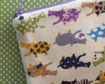 Zipper Pouch - Clutch - Coin Purse - Colorful Hippos - Zipper Bag