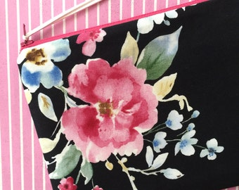 Makeup Bag - Vintage Floral - Black Clutch - Cosmetics Bag - Floral Pouch - Black Bag - Floral Clutch - Flower print - Zipper Pouch