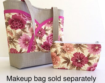 Pink rose and cream tote handbags and purses floral handmade handbag womens purse pink womens handbag