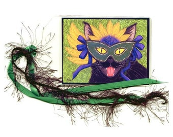 Mardi Gras Black Cat Bookmark New Orleans Cat Bookmarker Wild Party Mask Fantasy Cat Art Mini Bookmark Gift For Cat Lover