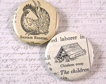 Rooster Pinback Button Set