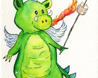 Dragon watercolor painting original, flaming marshmallow illustration, original watercolor painting of dragon, fantasy art 4 x 6