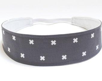Woman's Headband - Reversible Fabric - Grey & White X Pattern  -  Headbands for Women - GRAY X's