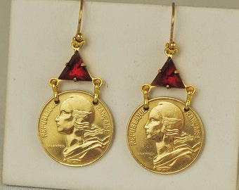 France Coin Earrings 1981 and 1984