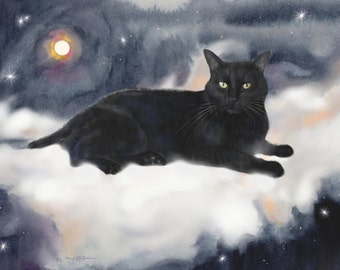 custom black cat portrait, cat art, memorial portrait, digital pet painting, lifelike, from photo, realistic pet, hand painted, heartwarming