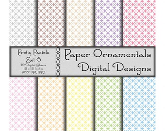 Instant Digital Download Printable Paper, Scrapbook Paper 12x12, Pastel Digital Paper Pack, Designer Paper Pattern, Original Artwork