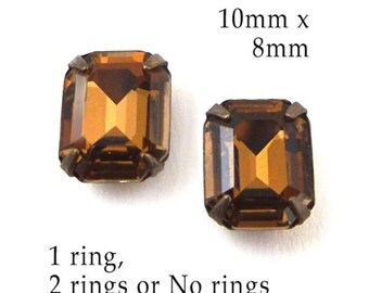 Golden Smoky Topaz, Glass Beads, Patina Brass Settings, Octagon, Glass Jewels, 10mm x 8mm, One or Two Rings, or No Ring Settings, One Pair