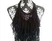 Black Fringe Necklace, Bohemian Fringe, Hippie Look, Gypsy,  Statement Necklace, Bib Necklace, Festival Wear, Tribal, Ethnic, Chestplate