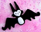 Super Soft Batcat - black and white minky fabric plush bat doll