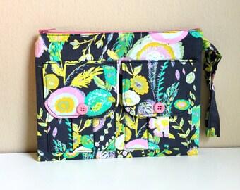 Pink Silk Mimosa Floral Wristlet Wallet, Floral Charcoal Grey Wallet Wristlet, Zipper Wallet, iPhone Wristlet, Fabric Wallet, 144 Collection
