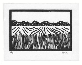 Hand printed linoleum block landscape print in black and white