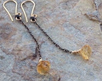 CITRINE Earrings,  mixed metal Sterling silver and gold filled , yellow gemstone, handmade