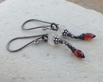 GARNET and MOONSTONE earrings, petite, red gemstone, white gemstone jewelry, handmade artisan
