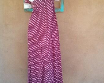 Vintage 1970s Calico Dress Prairie Boho 70s Maxi B35 W30 US6 8 2013564