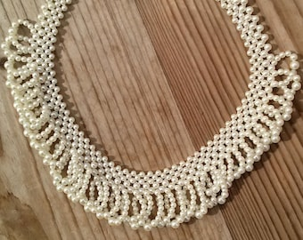 Vintage 1950s Pearl Necklace Choker Collar Bridal Vintage Jewelry 2015471