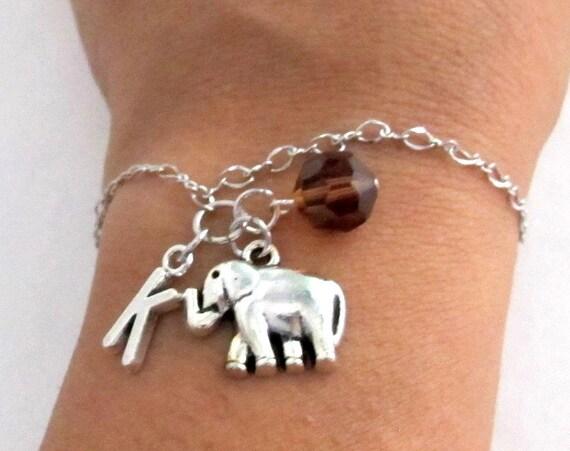 Elephant Bracelet- Birthstone and initial, Elephant Jewelry, Elephant Gift, Personalized Elephant Birthstone & Initial Free Shipping In USA