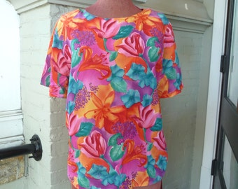 Simple Colorful LILY FLORAL 100% Silk Summer Top sz M