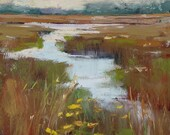 Autumn Marsh Wildflowers Original Pastel Painting Karen Margulis 5x7