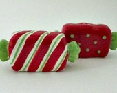 Vintage Holiday Salt and Pepper Shakers - Red White  green Christmas Candy Shakers