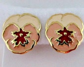 Pansy Clip On Earrings - Vintage 1990 Avon Full Bloom Pansy Clip Style Earrings in Original Box - Pansy Flower Earrings Jewelry Gift