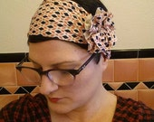 pink retro flapper girl jersey knit headband