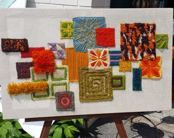 Retro Vintage Stitched Embroidery Crewel Colorful Floral Wall Hanging
