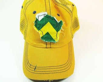 Distressed Trucker Hats - Wisconsin Green and Gold