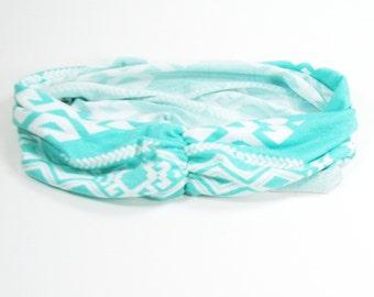 Yoga Headband - Aqua Aztec