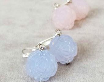 Bridesmaid earrings, Gift for bridesmaids, Delicate Vintage Roses earrings, Rose Quartz Serenity blue jewellery, Bridal wedding jewellery